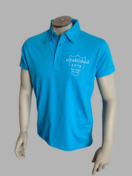 7TY8 Herren Polo-Shirt 'establ.' mit Stickerei - blau